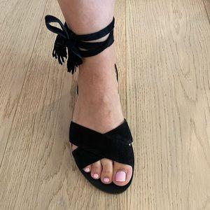 J Crew black suede sandals size 7.5